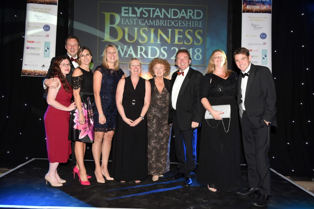 Fraser Dawbarns and Guests at the Ely Standard East Cambs Business Awards 2018